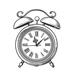 sketch old alarm clock hand drawn vector image