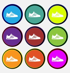 Sneakers icon sign Nine multi colored round vector image