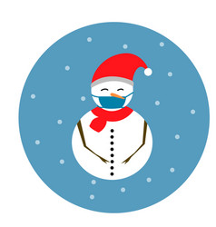 Snowman with face mask vector
