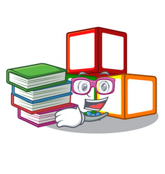 Student with book toy blocks on cube boxes mascot vector