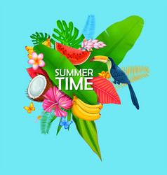 Summer time exotic tropical poster design vector