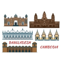 Temples mosques of Cambodia and Bangladesh icon vector image