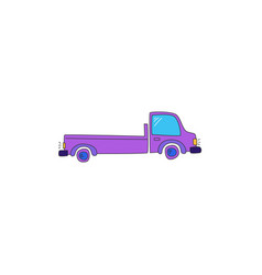 Truck drawn in a cartoon style vector