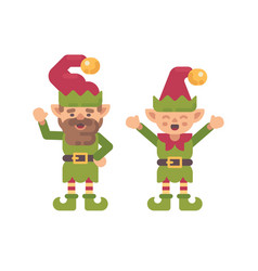 two cute christmas elves flat holiday character vector image