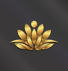 VIP Gold Lotus flower vector