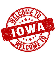 Welcome to iowa red round vintage stamp vector