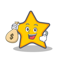 with money bag star character cartoon style vector image