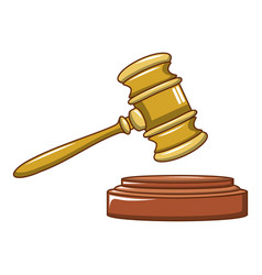 wood judge gavel icon cartoon style vector image