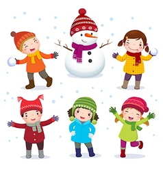 Collection of kids with snowman in winter costume vector image vector image