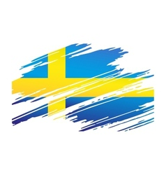 Flag Sweden in the form traces brush vector image vector image