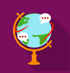 globe of various languages icon in flat style vector image vector image