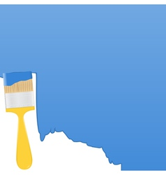blue background with yellow paintbrush vector image vector image