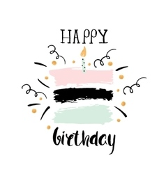 Creative Happy Birthday greeting background Hand vector image