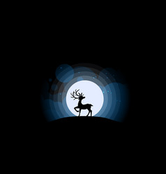 deer looking at the full moon vector image vector image