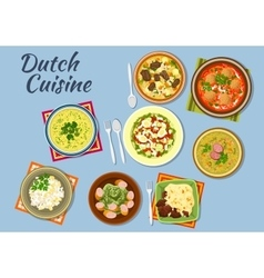 Dishes of dutch cuisine menu vector image vector image