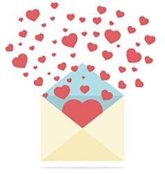 Hearts Spread Outside Mails Envelope vector image