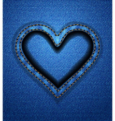 Jeans heart frame vector image vector image