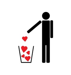 Man throws out a few red hearts in the trash vector image