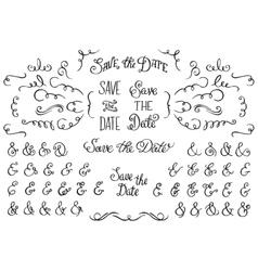 Set of Hand Drawnf Rustic Decorative Swirls vector image vector image