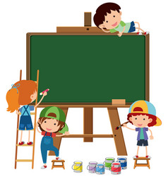 blank chalkboard and four happy kids vector image