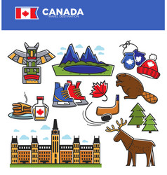 canada tourism travel landmarks and culture famous vector image vector image