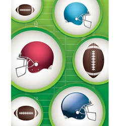 Football Helmets and Balls Background vector image