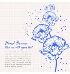 hand drawn flowers doodle vector image vector image