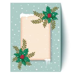 postcard with christmas plants vector image vector image