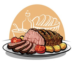 roast beef with potatoes vector image vector image