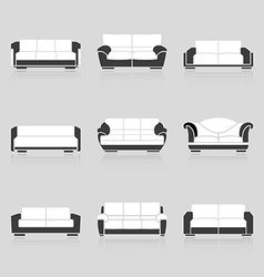 Set of black and white sofas vector image vector image