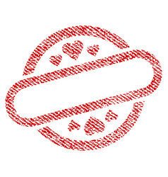 love stamp seal fabric textured icon vector image