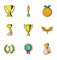 prize icons set cartoon style vector image vector image