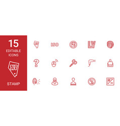 15 stamp icons vector image