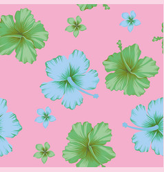 Abstract color hibiscus seamless pattern pink vector