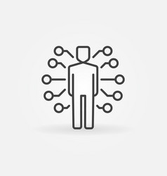 Ai man icon or symbol in thin line style vector