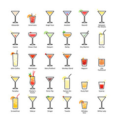 Alcoholic cocktails with titles iba official vector