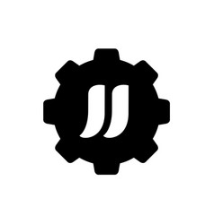 alphabet jj combined with gear logo icon vector image