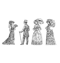 Antique ladie and man victorian dame vector