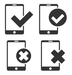 Apply and reject smartphone flat icon set vector