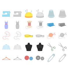 atelier and sewing cartoonmonochrom icons in set vector image