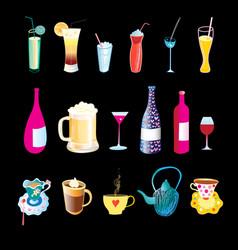 beverages in bottles vector image