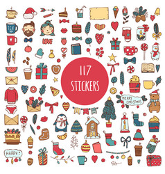 big collection of 117 element of merry christmas vector image