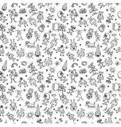black and white seamless pattern with monsters vector image