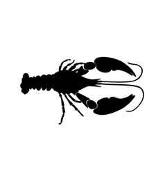 black crawfish silhouette on white background vector image