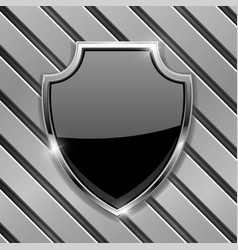 black security shield sign on metal background vector image
