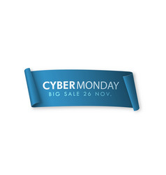 blue realistic curved paper banner cyber monday vector image