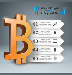 business infographics bitcoin money icon vector image