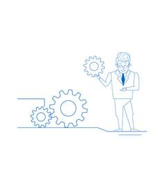 Businessman twisting gear wheel working process vector