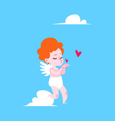 cartoon cupid blowing kisses with hearts vector image