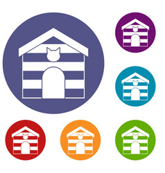 cat house icons set vector image